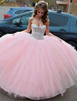 dunkles lila offenes rückenkleid großhandel-Kleid für 15 Jahre Vestido De Debutante 2019 Schatz Rosa Tulle Ballkleid Prinzessin Quinceanera Kleider mit Kristallen