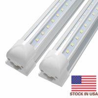 Wholesale Energy Light Tube - V-Shaped 4ft 5ft 6ft 8ft Cooler Door Led Tubes T8 Integrated Led Tubes Double Sides SMD2835 Led Fluorescent Lights 85-265V Stock In US