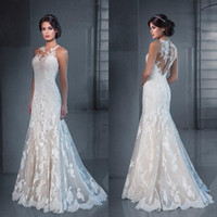 Wholesale Pnina Wedding Dresses Plus Size - Pnina Tornai Mermaid Lace Wedding Dresses 2017 Jewel Neck Appliques Lace Vintage Trumpet Wedding Bridal Gowns Custom Made Sweep Train