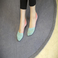 Wholesale Invisible Yarn - Wholesale- Lovely slippers sock summer new Japanese loop yarn mixed colors shallow mouth invisible socks thick line slip boat socks quality