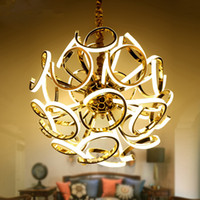 Wholesale Spherical Led Lights - Creative spherical chandelier New design modern LED chandelier lamp silver hanging light diameter 80cm dinning room living room chandelier