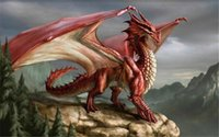 Wholesale Traditional Dragon Paintings - 5D needlework Diy diamond painting cross stitch kits full resin round diamond embroidery Mosaic Home Decor animal red dragon y0072