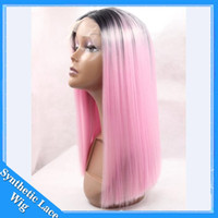 Wholesale Two Parting Wigs - Silky Straight Ombre Pink wig Synthetic Lace Front Wig Glueless Two Tone Natural Black to pink Heat Resistant Middle Part For Black Women