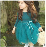Wholesale Korean Kids Girls Model - Lovely Girls dress NEW Spring and Autumn models Princess Korean Temperament dresses quality cute baby girls kids clothes