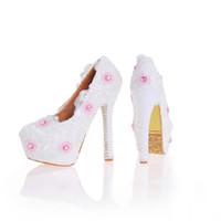 Wholesale Imitation Designer Shoes - New Designer Lace Shoes with Imitation Pearl Heel White Color Bridesmaid Shoes Handmade Wedding Pumps Women Party Dress Shoes
