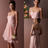 Wholesale Chiffon Wedding Dress Low Prices - Simple Design A Line Sweetheart Knee Length Pearl Pink Short Bridesmaid Dresses Ruched Most Popular Chiffon Low Price Wedding Party Dresses