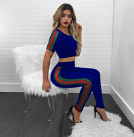 Wholesale Leisure Yoga Trousers - Women's Tracksuits sexy fashion short paragraph exposed umbilical T-shirt + trousers Women's sports leisure suits
