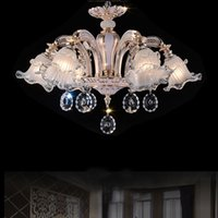 Wholesale semi mount pendant white gold resale online - fashion chandeliers led crystal light for living room modern indoor lighting simple flush mounted led dining room chandelier pendant lamps