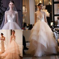 Wholesale Monique Lhuillier Beaded - 2017 Wedding Bridal Dresses Sheer Neck A Line Sexy Long Sleeves Ruffles Tulle Illusion Back Pearls Beaded Monique Lhuillier Bridal Gowns