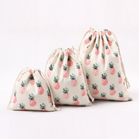 Wholesale Wedding Totes - Women's Pop Pineapple Printing Canvas Jute Sacks Luxury Wedding Candy Gift Bags Beautiful Fruit Prints Totes Top Quality