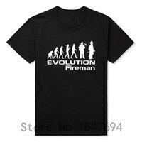 Wholesale Wholesale Firefighter - Wholesale- Evolution Of A Fireman Gift Firefighter T Shirt T-Shirt Summer Style Short Sleeve