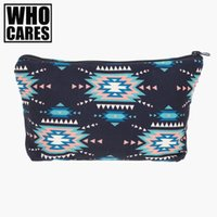 Wholesale Blue Aztec - Wholesale- Indian mint Women Aztec Portable Type Make up Bags Cosmetic Bag Maleta de Maquiagem Bags Cases Storage Travel Makeup Bags Brand