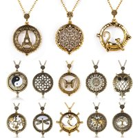 Wholesale Glass Dragonfly Pendant - Vintage Magnifying Glass Pendant Necklace World Map Dragonfly Owl Life Tree Elephant Pocket Watch Statement Necklace Women Jewelry