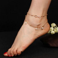 Wholesale Double Pearl Bracelets - Fashion popular pearl anklets foot chain accessories Handmade beaded double bracelet character beach anklets jewelry top quality