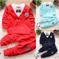 Wholesale American Button Down Shirt - 2Pcs Baby Boy Cotton Bow Shirt Pants Toddler British Button Clothes Set Outfits