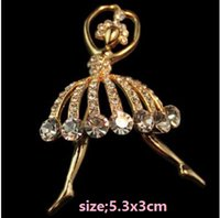 Wholesale Asian Dancer - Full diamond ballet dancer The brooch brooches chain scarves buckle one color you can choose shipping free