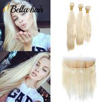 bebek örgüler toptan satış-Bella Hair®10A Bal Sarışın Hint Düz İnsan Saç Dokuma Paketler 13 * 4 ile Frontal Kapatma ile Bebek Saç Sarışın Uzatma # 613 4 adet / grup