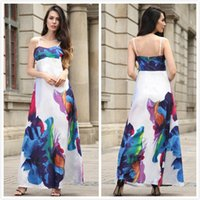 Wholesale Dressed Animals Paintings - New Loose Women Dresses Dress Sexy Slip Strapless Floral Printed Backless Ink Painting Luxury 100% Real Shooting Long Dresses Slim Fit
