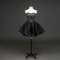 Wholesale Straples Dresses - Cheap Black Organza Short Evening Dress Sleeves Prom Evening Dress Beading Special Occasion Plus Size Formal Cheap Straples Party Gowns