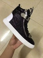 Wholesale Italian Mesh - New brand Italian designer men sneakers women casual shoes genuine leather Lace-Up the high tops zanottys double zipper decorative