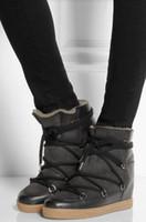 коричневые зашнуруйте клин сапоги оптовых-Зима Теплая Мех Снегоступы Черный Коричневый Кожа Женщины Клин Ботильоны Зашнуровать Высота Увеличение Открытый Повседневная Обувь Женщина