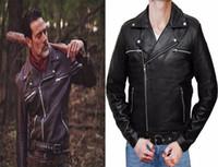 caminar trajes muertos al por mayor-The Walking Dead Negan Chaquetas de cuero Negro PU de cuero Cosplay Coat disfraces de alta calidad