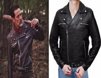 Wholesale Male Leather Costume - The Walking Dead Negan Leather Jackets Black PU leather Cosplay Coat Costumes High Quality