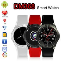 Wholesale Gsm Watch Phone 3g - DM368 GPS Smart Watch GSM Phone Android 5.1 8GB Heart Rate Monitor Sport Pedometer 3G WCDMA Wifi Bluetooth OLED Smartwatch Wearable Devices