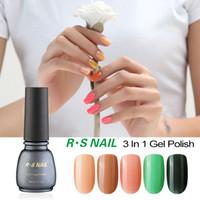 Wholesale Gel Unhas - Wholesale-RS one step uv gel nail polish set gel nail lacquers unhas de gel varnish 3 in 1 esmaltes permanentes de uv lucky color harmony