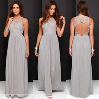 Wholesale Modest Grey Bridesmaid Dresses - 2017 Country Cheap Grey Bridesmaid Dresses for Wedding Long Chiffon A-Line Backless Formal Dresses Party Lace Modest Maid Of Honor Dress