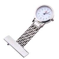 Wholesale Nurse Pendant Watches - Wholesale- EAS-Silver Nurse Doctor Brooch Pocket Pendant Quartz Watch