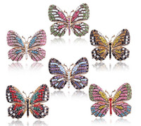 Wholesale Large Animal Brooch - fashion Big Crystal butterfly Top Quality Silver Tone Drop Brooch Exquisite Big Diamante Jewelry Brooch Large Crystal Women Broach 9