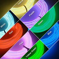 Wholesale Glow Lighting Rope Strip Charger - LEEWA 3-meter 8-color Flexible EL Neon Glow Lighting Rope Strip + Charger for Car Decoration SKU:#4634