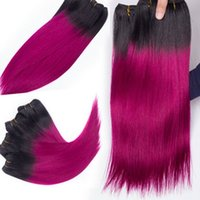 Wholesale Synthetic Extension Pink - straight ombre hair extension off black 1b# pink synthetic hair 100% fiber 100g pcs hair weaving stock