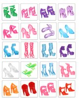 Wholesale 2017 Fashion Trendy Mix Assorted Doll Shoes Barbie Doll Shoes Multiple Styles High Heels Sandals For Barbie Dolls Accessories