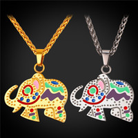 Wholesale stainless zodiac pendant - U7 Lucky Charms Gift Colorful Golden Elephant Necklace Perfect Gift Pet Zodiac Jewelry Stainless Steel Rope Chain Collier Accessories GP2421
