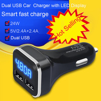 Wholesale Dc Amp Meter Dual - Dual USB Car Cigarette Charger with LED Display Volt Amp Meter DC 4.8A 5V