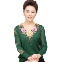 Wholesale Silk Embroidery Blouse - Wholesale- Fashion 2016 Silk Spring Autumn Blouse Middle Age Women Knit Slim Sweater Mother Pullovers Chiffon Sleeve Lady Clothing B341