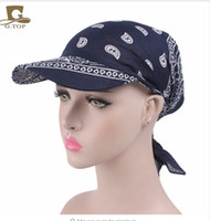 Wholesale Wholesale Red Sun Scarves - Unisex paisley Visor Pre Fitted Bandana Hat outdoor sun bandans cap Head Scarf bandit turban cap