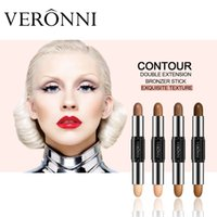 Wholesale Double Ended Charms - 2017 VERONNI New Hot Selling 8 Colors Women Face Foundation Double-ended 2 In 1 Highlight CHARM Stick Contour Stick Makeup Contour Concealer