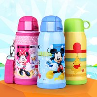 Wholesale Baby Flask - Wholesale- Children Outdoor Holding Large Capacity Straw Stainless Steel Cup Insulation Flask kettle Baby Mickey pupil Water Kettle