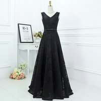 Wholesale Vintage V Neck Dress Guest - Gothic 2017 Vintage Black Lace Bridesmaid Dress A-line V Neck Sleeveless Corset Back Lace-up Wedding Guest Gowns Floor Length Maid of Honor