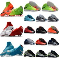 Wholesale 2017 original ankle high soccer cleats hypervenom phantom DF FG TF IC III Mens soccer shoes indoor neymar football boots outdoor Green