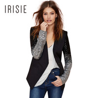 Wholesale Color Block Suit Jacket - IRISIE Apparel Casual Slim Female Blazer Suit Jacket Office Single Button Suit Blazer Black PU Contrast Color Block Women Blazer