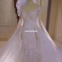 Wholesale Long Sheer White Veils - Gorgeous 2017 Mermaid Detachable Train Wedding Dress Long Sleeve Appliques Sheer Bead V Neck Bridal Gown For Church With Free Veils