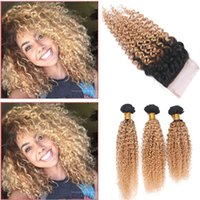 Wholesale Curly Two Tone Hair Extensions - Brazilian Honey Blonde Dark Root Ombre 3Bundles With Closure 4x4 Kinky Curly Ombre 1B 27 Two Tone Lace Front Closure With Extensions