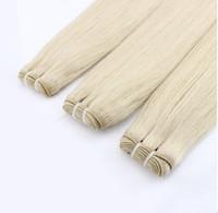 extensões de cabelo humano de platina blonde venda por atacado-Oferta Especial Platinum Blonde Malaio Virgem Hai Em Linha Reta 8-30