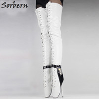 Wholesale Thigh Ballet - Multi-colors 18Cm 7 Inch High Heel Over-The-Knee Ballet Heels Black Thigh High Boots Sex Fetish Thin Heel Crotch Lockable Boots