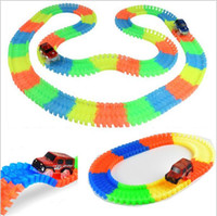 Wholesale Car Led Toys - New Tracks Bend Flex Glow in the Dark Assembly Toy 165pcs lot Race Track + 1pc LED Car DIY Glowing Racing set Kids Toy