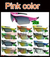 sıcak moda adam güneş gözlüğü toptan satış-SıCAK erkekler spor gözlükler Bisiklet Cam açık güneş gözlüğü PEMBE bisiklet güneş gözlüğü moda dazzle renk aynalar A + + + 29 renkler ücretsiz kargo